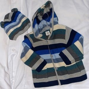 Baby Gap boys sweater and matching hat 6-12 month